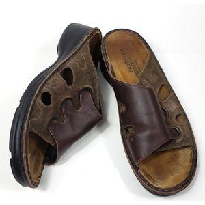 Naot Slides Comfort Brown Leather Sandals 7-7.5M